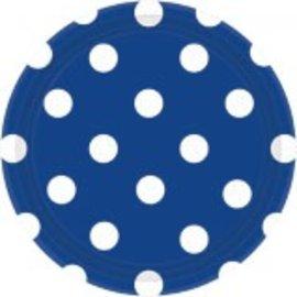 """Bright Royal Blue Plates, 7"""" ‑ Dots 8ct"""