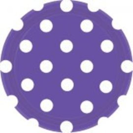 "New Purple Dots, 7"" Round Plates 8ct"