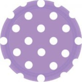 "Lavender Dots, 7"" Round Plates 8ct"