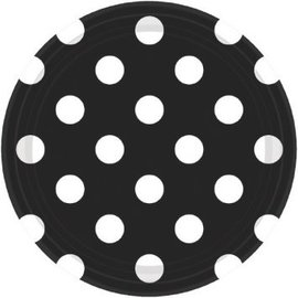 "Black Dots, 7"" Plates 8ct"