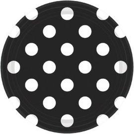 "Black Dots, 7"" Plates 8ct"