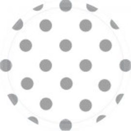 "White Dots, 7"" Round Plates 8ct"