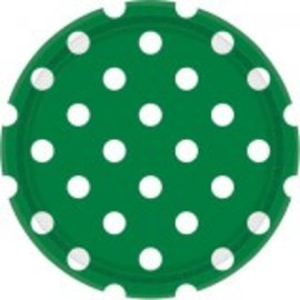 "Festive Green Dots, 9"" Round Plates 8ct"