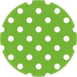 "Kiwi Dots, 9"" Round Plates 8ct."