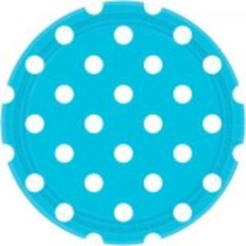 "Caribbean Blue Plates, 9"" ‑ Dots 8ct"
