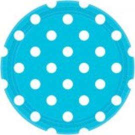 "Caribbean Blue Plates, 9"" ‑ Dots 8ct"