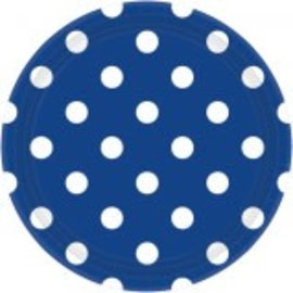 "Bright Royal Blue Plates, 9"" ‑ Dots 8ct"