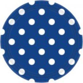 """Bright Royal Blue Plates, 9"""" ‑ Dots 8ct"""