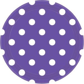 "New Purple Dots, 9"" Round Plates 8ct"