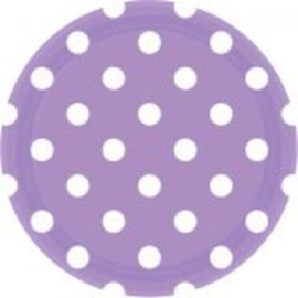"Lavender Dots, 9"" Round Plates 8ct"