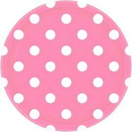 "New Pink Plates, 9"" - Dots 8ct"