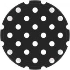 "Black Dots, 9"" Plates 8ct"