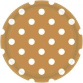 "Gold Plates, 9"" ‑ Dots 8ct"