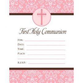 First Communion Pink Invitations, 20ct