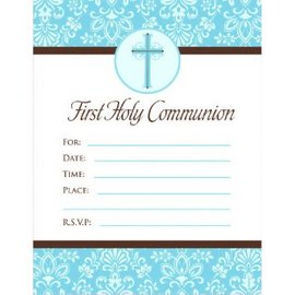 First Communion Blue Invitations, 20ct