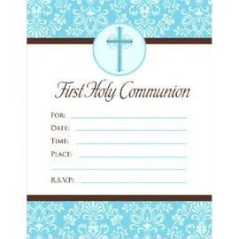 First Communion Blue Invitations, 20ct