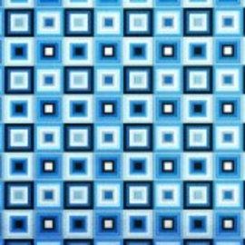 Blue Squares Jumbo Foil Embossed Gift Wrap w/ Hang Tab 12'