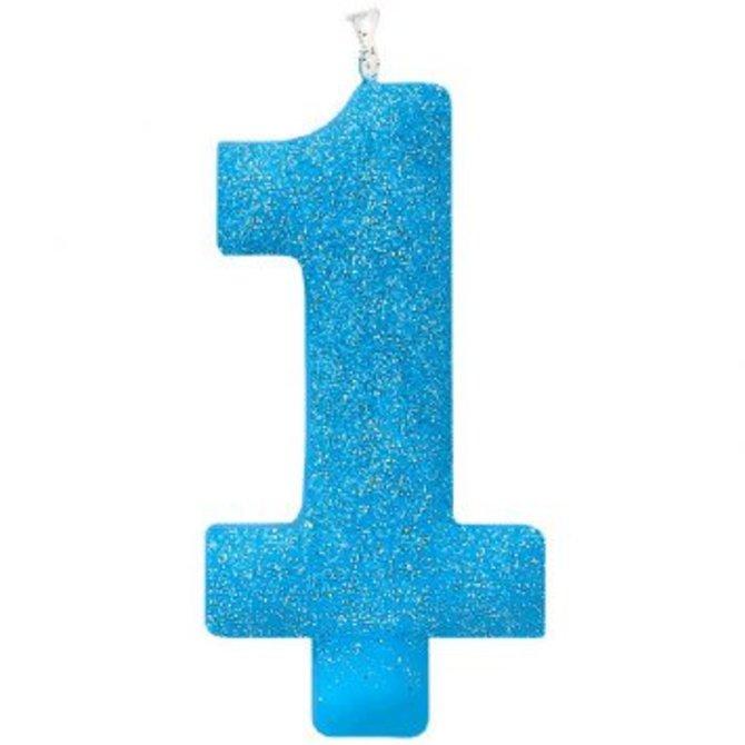 #1 Birthday Glitter Candle 5'' - Blue