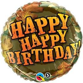 """Camouflage Happy Birthday, 18"""" (#100)"""