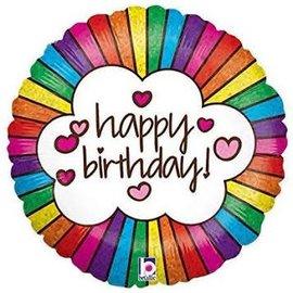 "Retro Rainbow Birthday Holographic Balloon, 18"""