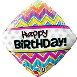 "Happy Birthday Chevron Pattern Balloon, 18"" (#127)"
