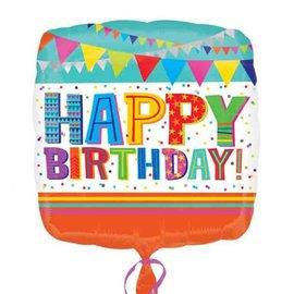 """Happy Birthday Bright and Bold Balloon, 18"""""""