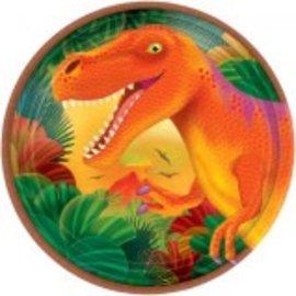 "Prehistoric Dinosaurs Metallic Round Plates, 7"" -8ct"