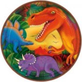 "Prehistoric Dinosaurs Metallic Round Plates, 9"" -8ct"