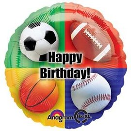 "Sports Happy Birthday Balloon, 18"" (#150)"
