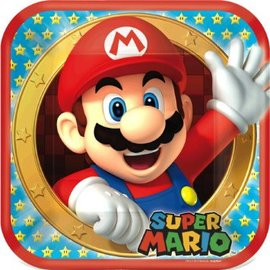 "Super Mario Brothers™ Square Plates, 9""-8ct"