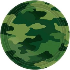 "Camouflage Round Plates, 7""-8ct"