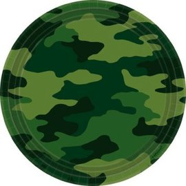 "Camouflage Round Plates, 9"" 8ct."