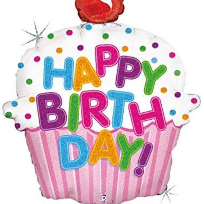 "Happy Birthday Cupcake Balloon, 31"""