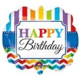 "Happy Birthday Stripes and Chevron Balloon, 25"" (#193)"