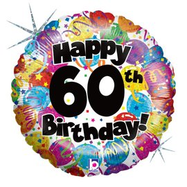 "Happy 60th Birthday Party Balloon, 18"" (#205)"