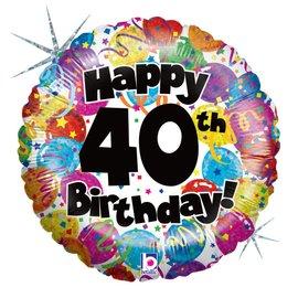"Happy 40th Birthday Party Balloon, 18"""