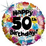 "Happy 50th Birthday Party Balloon, 18"""