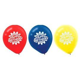 Gears Latex Balloons - Robots 6ct