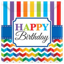 "Bright Birthday 7"" Square Plates, 8 ct"