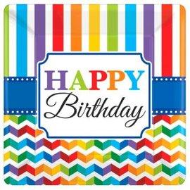 "Bright Birthday 10"" Square Plates, 8ct"
