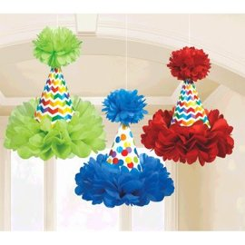 Bright Birthday Cone Hat Fluffy Decorations, 3ct