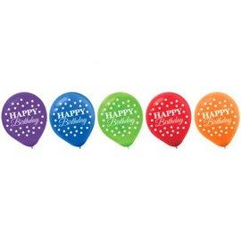 "Bright Birthday Printed Latex Balloons 12"", 15ct"