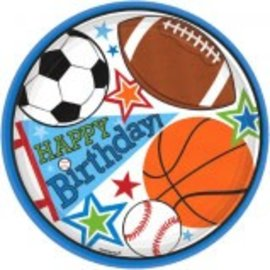 """Sports Party 7"""" Plates 8ct"""
