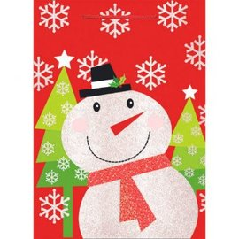 Red & White Snowman Extra Large Vertical Bag