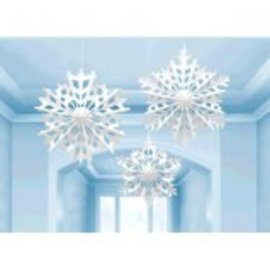 Snowflake Hanging Paper Fan Decorations-3ct
