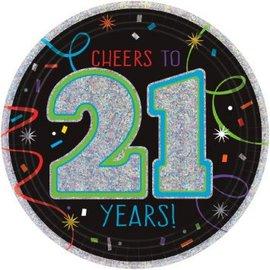 "Brilliant Birthday Prismatic Round Plates, 7"" - 21st Birthday, 8ct"