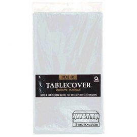 "Silver Rectangular Plastic Table Cover, 54"" x 108"""