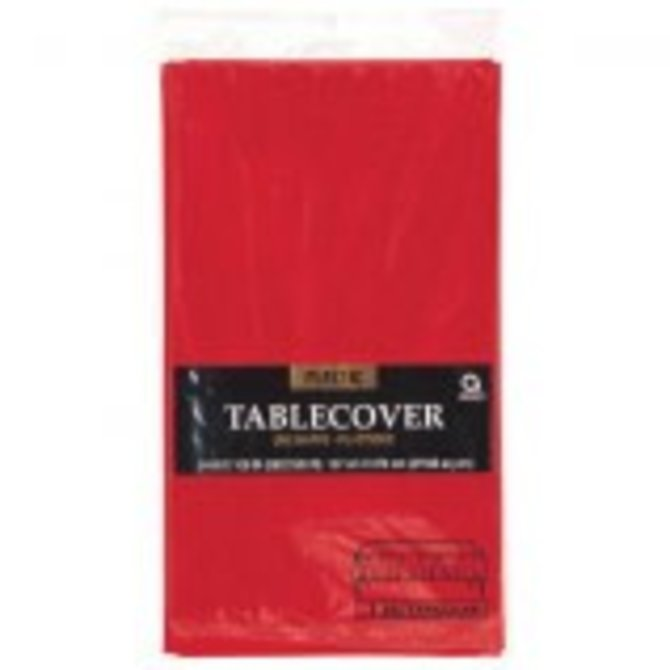 Apple Red Plastic Table Cover 54' x 108""