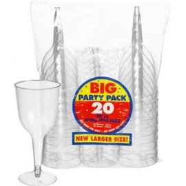 Big Party Pack Clear Plastic Wine Glasses, 10oz. 20ct