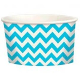 Chevron Paper Treat Cups ‑ Caribbean,9.5oz,  20ct